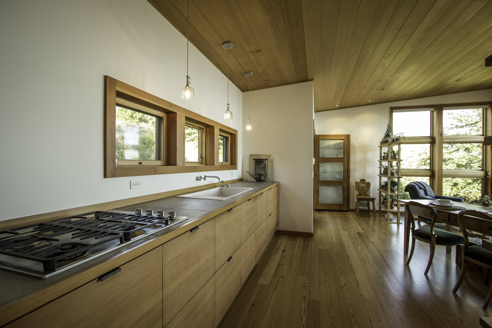 The design maximizes storage and minimizes visual clutter.  Eagle Point by Prentiss + Balance + Wickline Architects