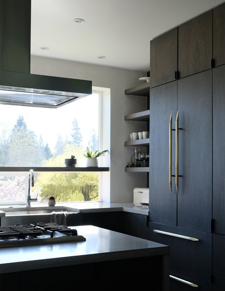 Kristen designed the kitchen work triangle for easy access between sink, stove, and refrigerator.