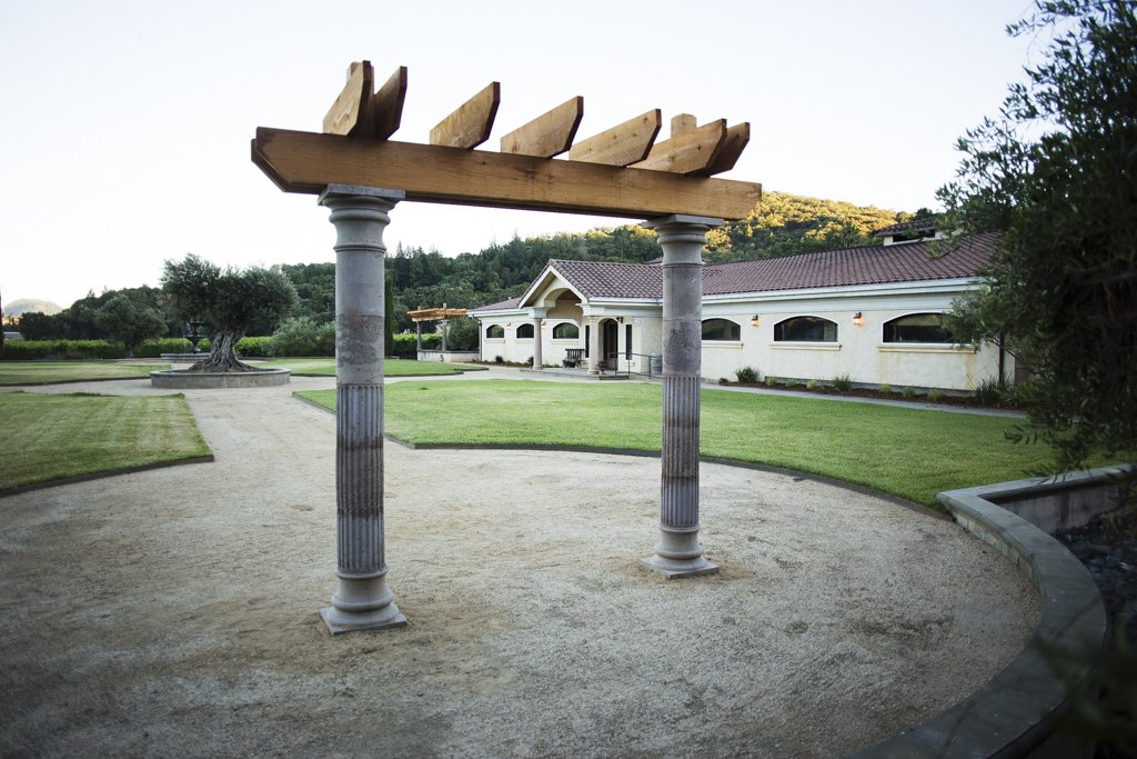 In addition to the pergolas, a redwood arbor sits at the front of the property for use by wedding parties, and can be moved to different locations as desired.  Photo 5 of 6 in A Northern California Winery's Breathtaking Vistas Are Enhanced by Natural Redwood