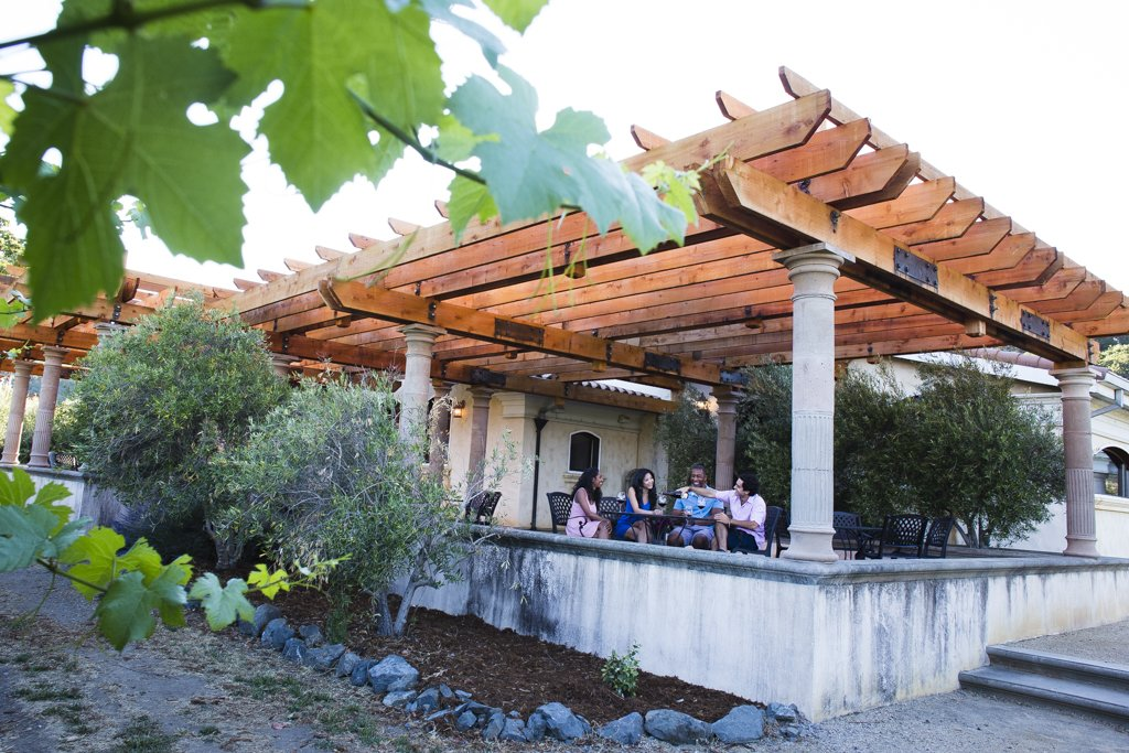 """When large events are hosted at Jeriko Estate Resort and Winery,"" says Fetzer, ""the pergolas create a perfect, cool atmosphere…""  Photo 6 of 6 in A Northern California Winery's Breathtaking Vistas Are Enhanced by Natural Redwood"