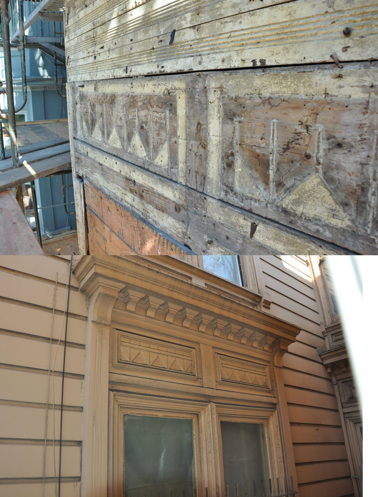 Before: Alamo Square Residence close up of original wood facade fixtures torn away and a compared bottom photo of maintained original wood facades on exterior windows