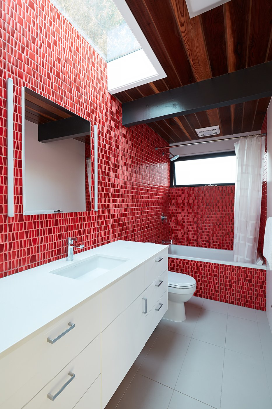 After: Palo Alto Eichler guest bathroom
