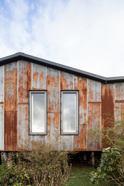 """Micro-corrugated zinc sheets were used on the areas most exposed to rain and wind, treated so that the finish was rusty, but not uniformly so. """"After many tests I did in my house, I managed to find a technique to oxidize the material and achieve the patina we were looking for,"""" says Sánchez."""