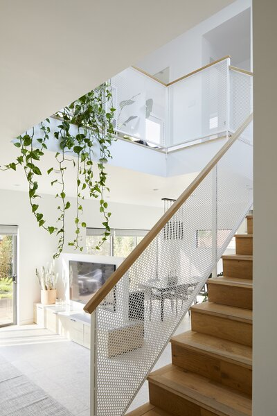 """Mature pothos vines drip over the banister of the loft, cascading down to the first floor. """"It's the first thing people notice,"""" says Melanie."""