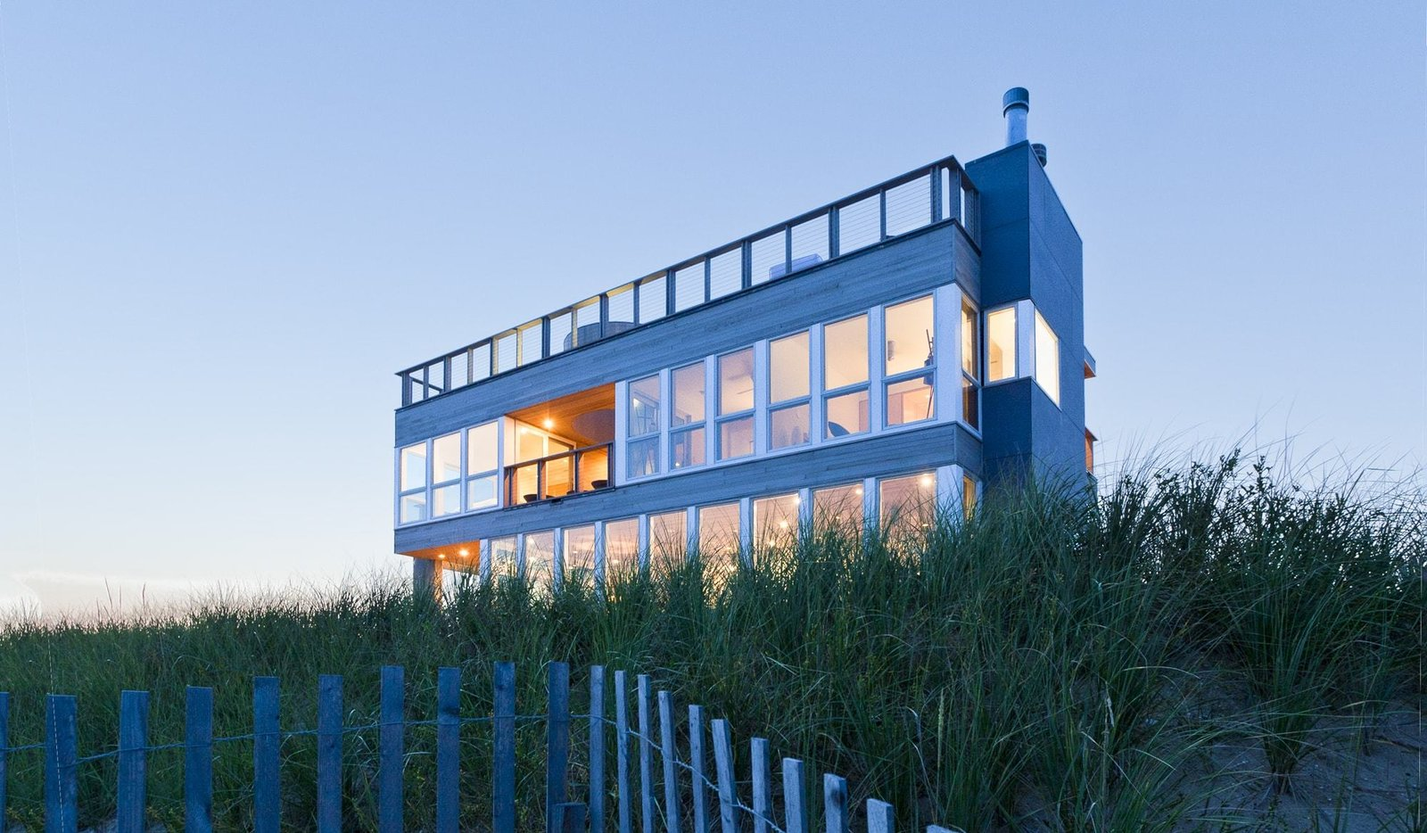 House Building Type, Wood Siding Material, Metal Siding Material, Outdoor, and Grass Southeast corner from beach  Dune Road Beach House by Resolution: 4 Architecture