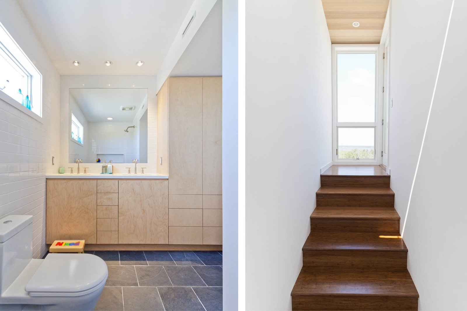 Engineered Quartz Counter, Limestone Floor, Undermount Sink, One Piece Toilet, Subway Tile Wall, Ceiling Lighting, Staircase, and Wood Tread Guest bathroom/Stair to roof deck  Dune Road Beach House by Resolution: 4 Architecture