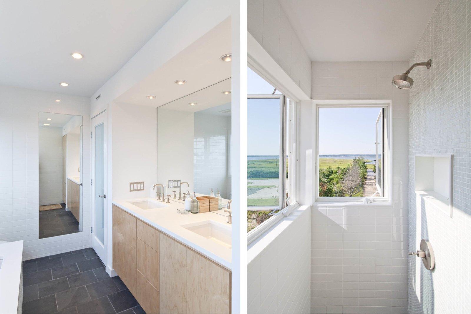 Bath Room, Engineered Quartz Counter, Limestone Floor, Undermount Sink, Ceiling Lighting, Subway Tile Wall, and Corner Shower Master bathroom  Dune Road Beach House by Resolution: 4 Architecture
