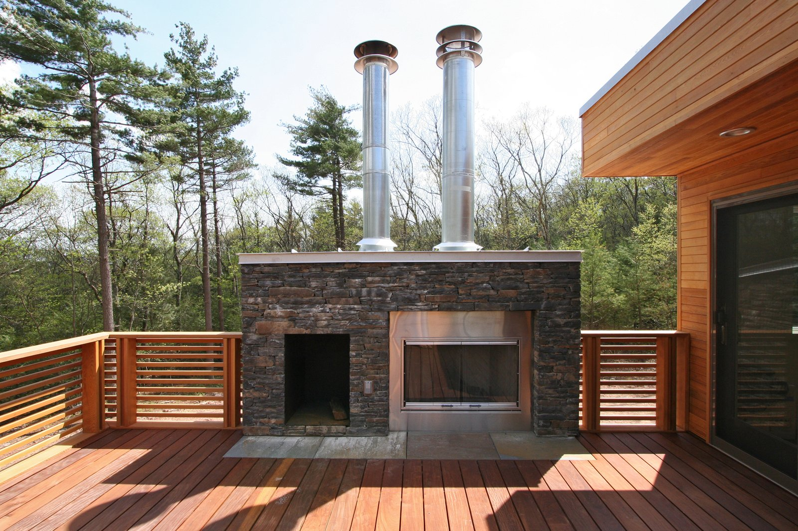 Ipe roof deck with outdoor fireplace and stone surround  Catskills Suburban by Resolution: 4 Architecture