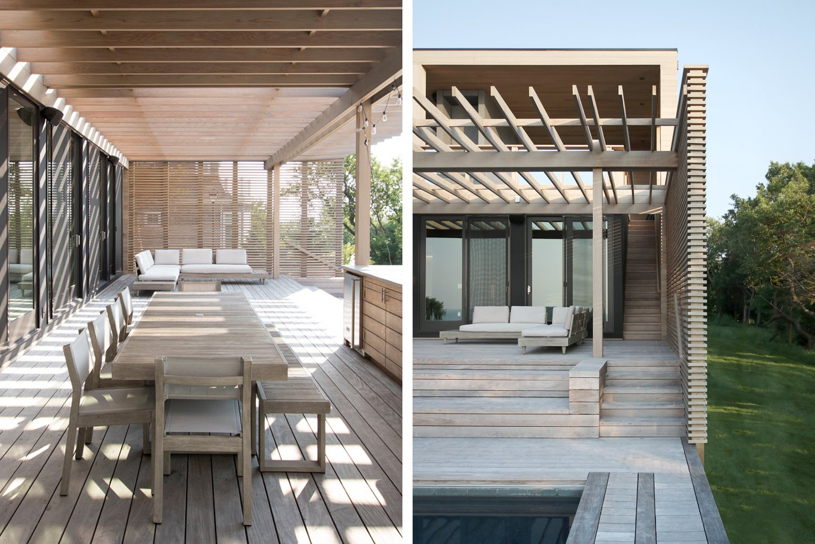 Exterior, House Building Type, Flat RoofLine, Prefab Building Type, and Wood Siding Material Outdoor dining area (L); Lounge area at pool leading to a stair to the roof deck beyond (R)  North Fork Bluff House by Resolution: 4 Architecture