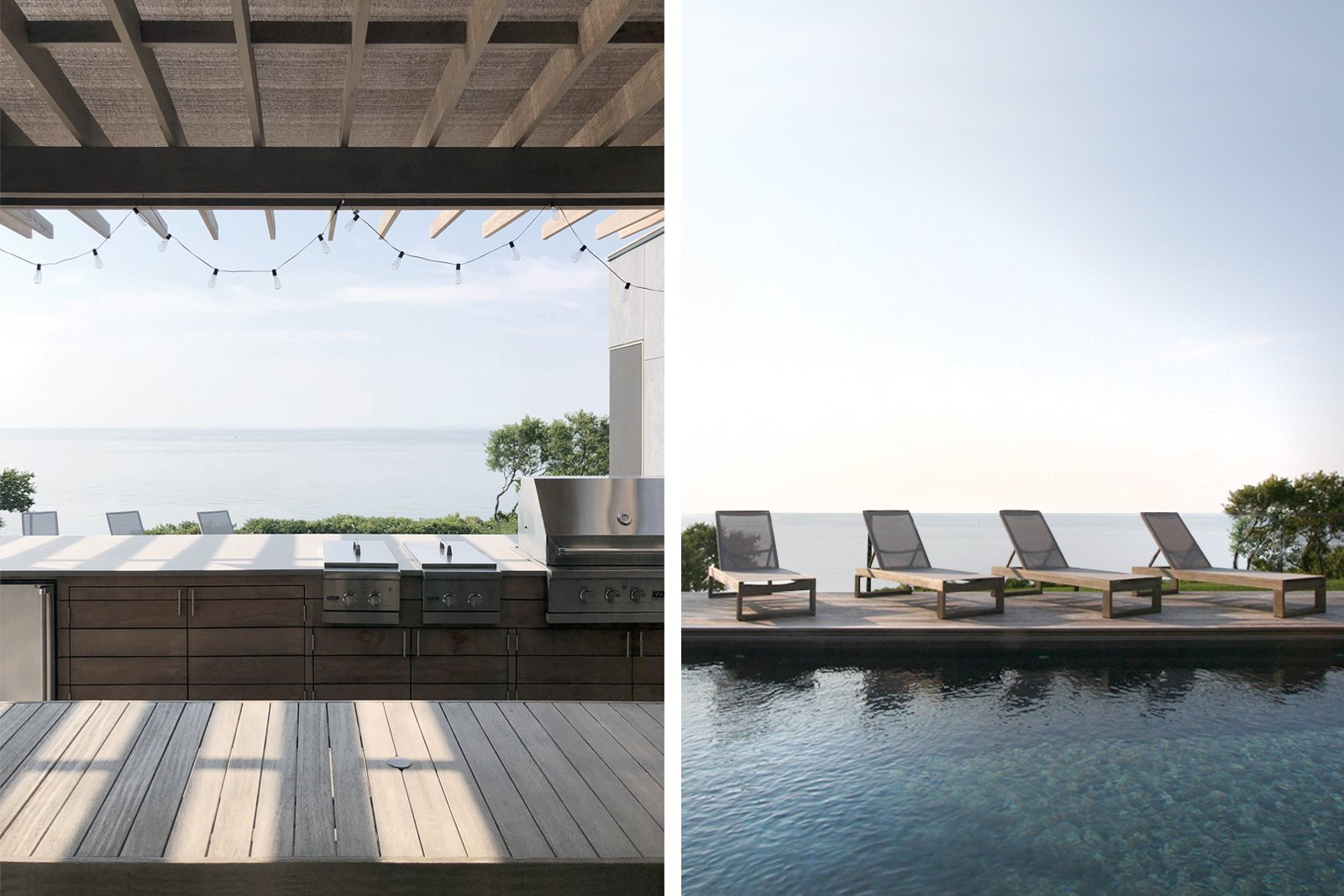 Exterior, Prefab Building Type, House Building Type, Wood Siding Material, and Flat RoofLine Outdoor kitchen (L); Lounge area at the pool (R)  North Fork Bluff House by Resolution: 4 Architecture