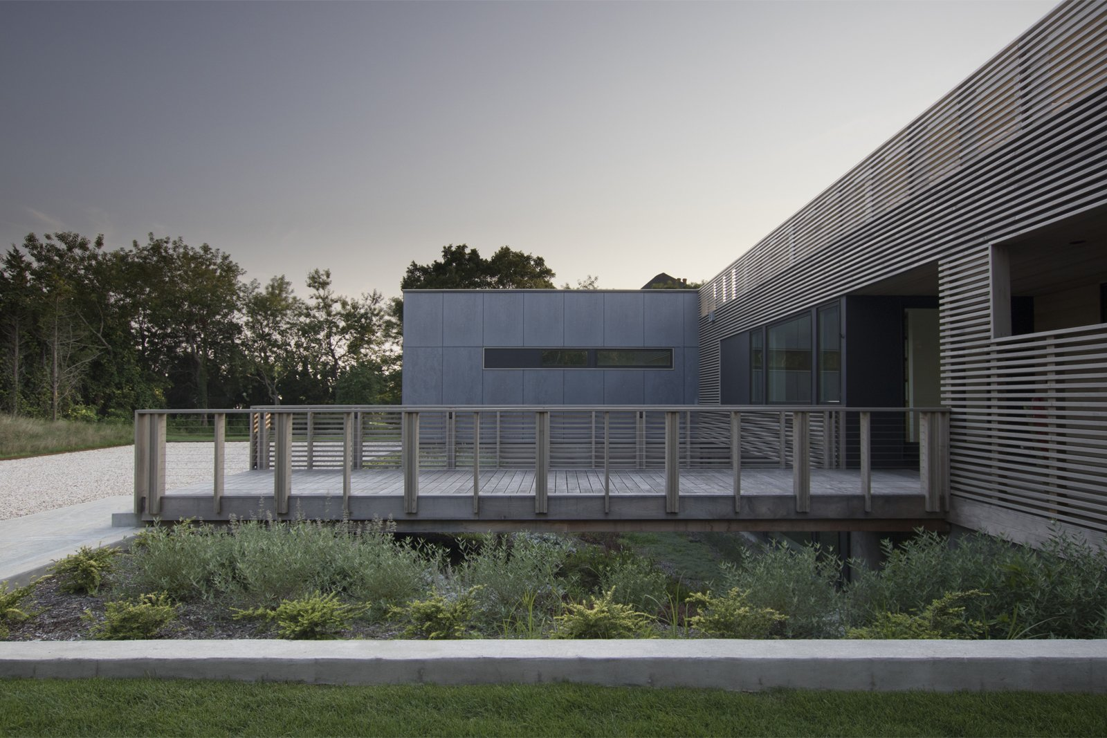 Exterior An ipe bridge provides entry to the home  North Fork Bluff House by Resolution: 4 Architecture
