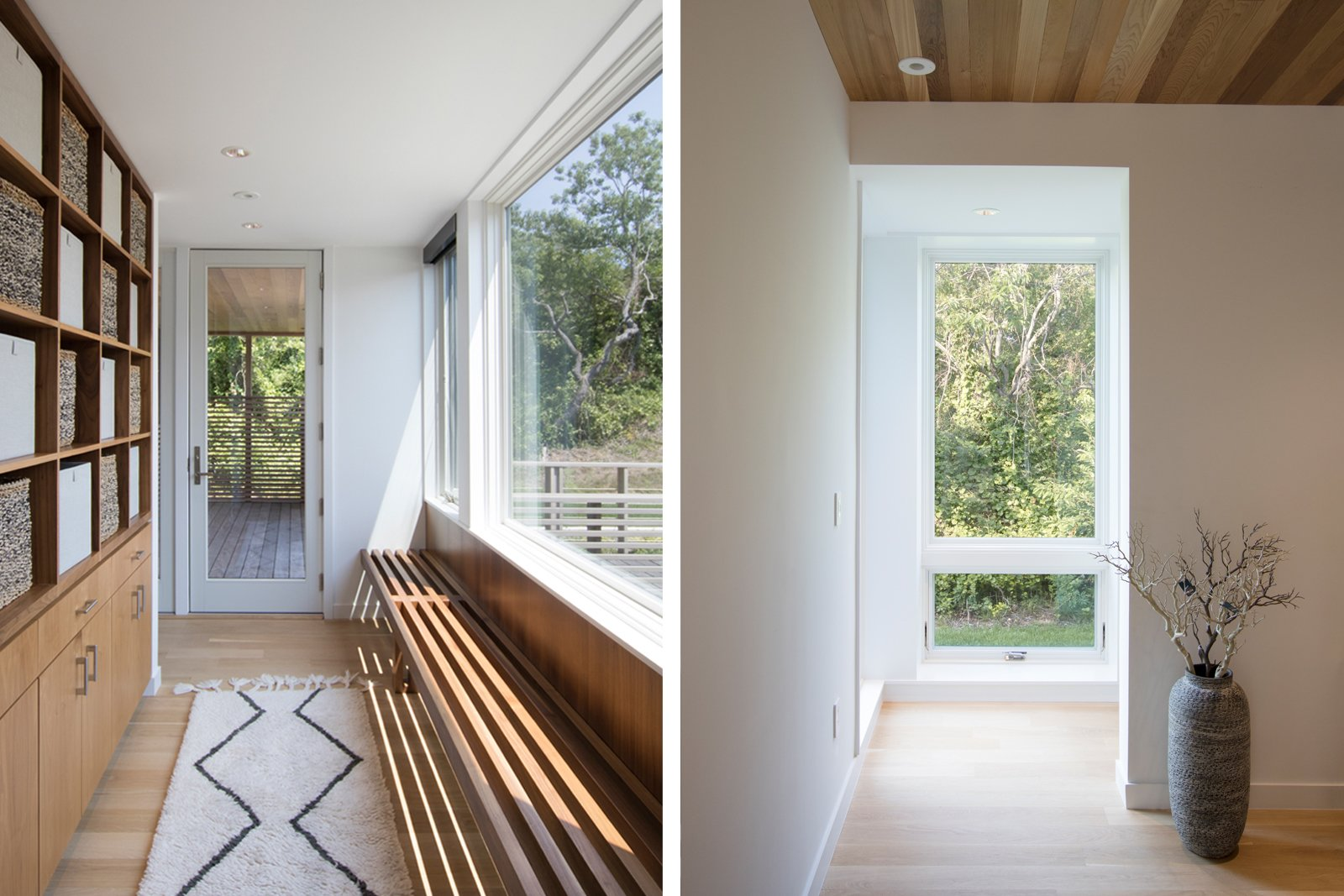 Hallway and Light Hardwood Floor Entry (L); Corridor leading to the basement (R)  North Fork Bluff House by Resolution: 4 Architecture