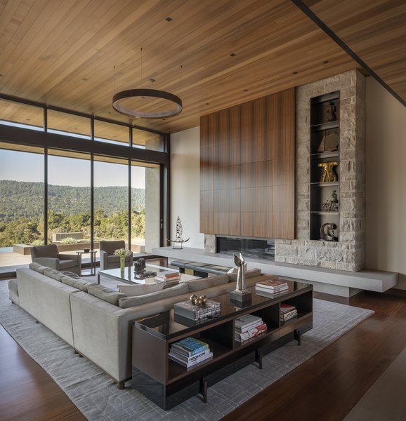 A palette of wood, stone, and steel extends from the outside in.