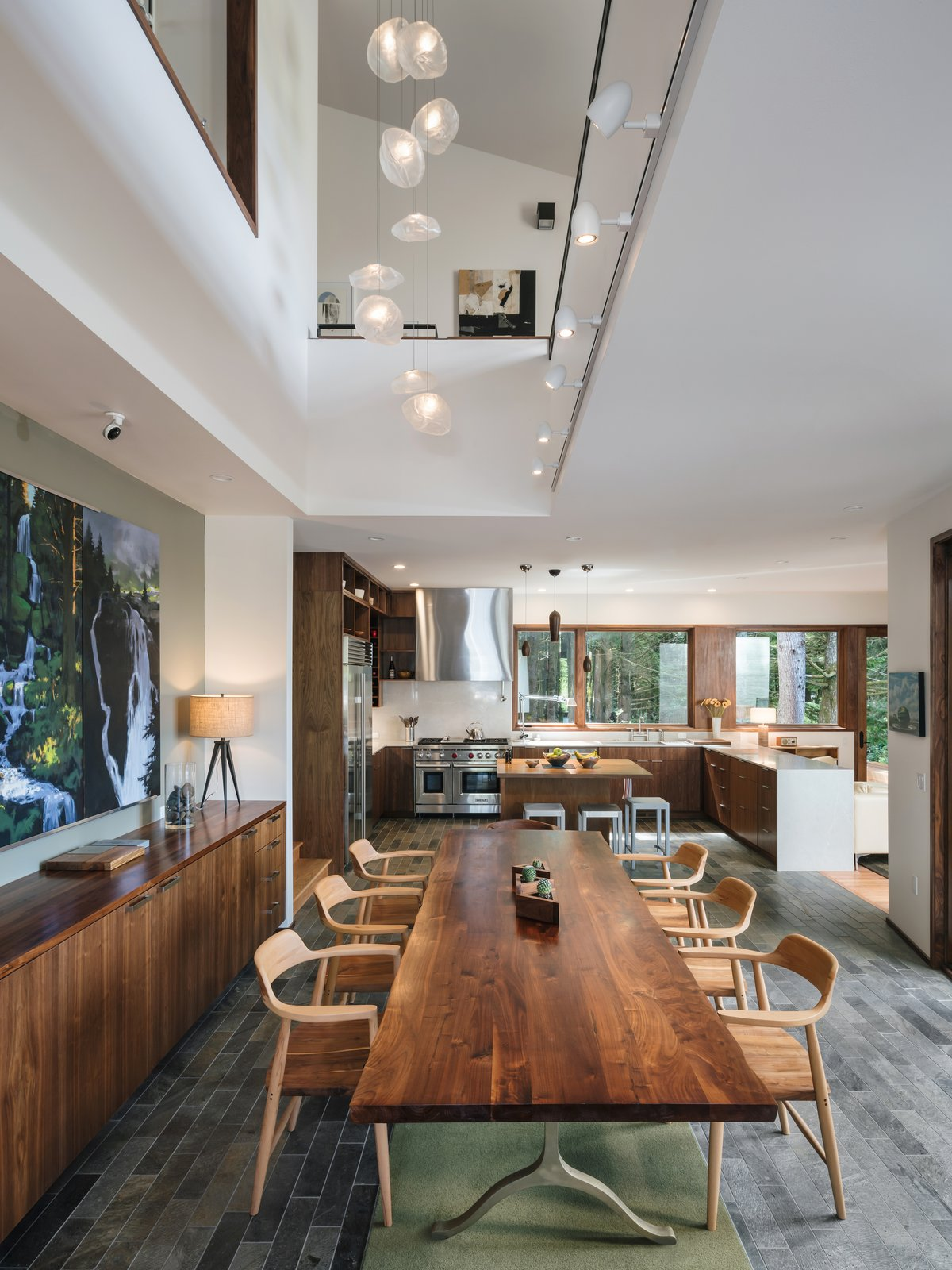 Arch Cape Residence by Colab Architecture + Design double-height dining room