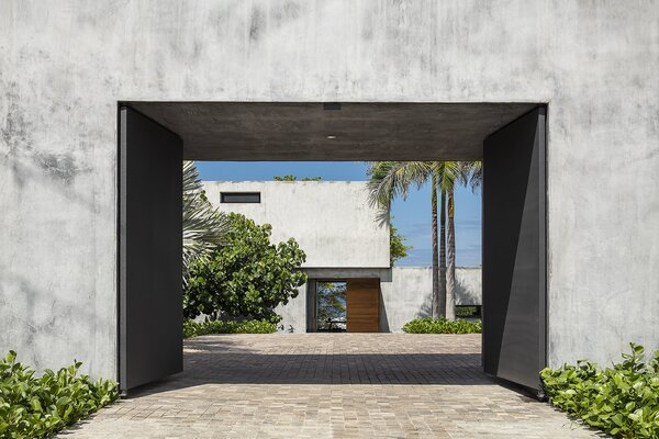 A cobblestone courtyard lined with palm trees and native plants welcomes visitors to the home.