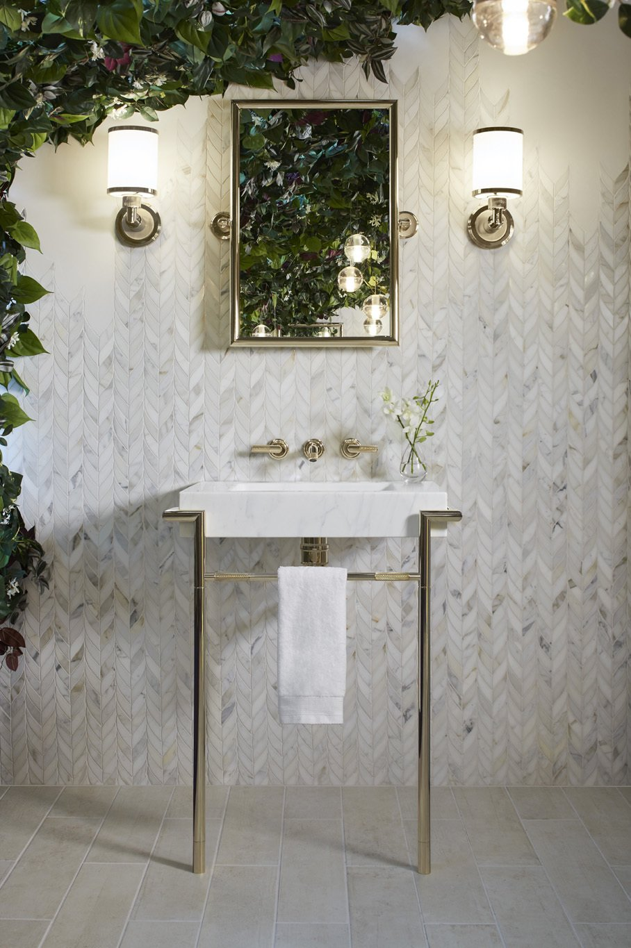 Bath Room, Pedestal Sink, Marble Wall, Pendant Lighting, Wall Lighting, and Wall Mount Sink KALLISTA, Laura Kirar Marble Console Table  Photo 11 of 21 in Mad About Marble: 20 Kitchens and Bathrooms from KALLISTA® Introduces Paletta™   By Designer Laura Kirar Brassware Collection Highlighting Form & Personalization