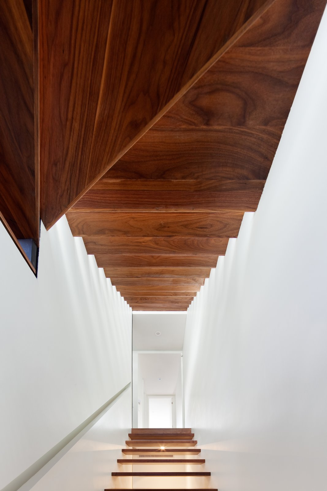 Staircase and Wood Tread Walls were removed and a new open riser stair was stacked vertically along the party wall from the basement to the third floor, inviting light and air into the once light-devoid interior spaces.  Contrast House