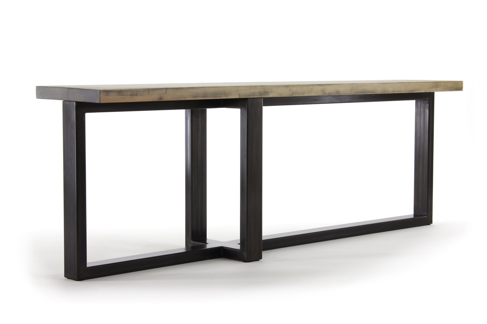 handcrafted by seventeen20 // expanding our concord collection, the console table is a scaled down version of the dining table, taking flight in an entryway or behind the sofa. shown in our worn maple wood finish with darkened steel. #industrial #modern  Consolas