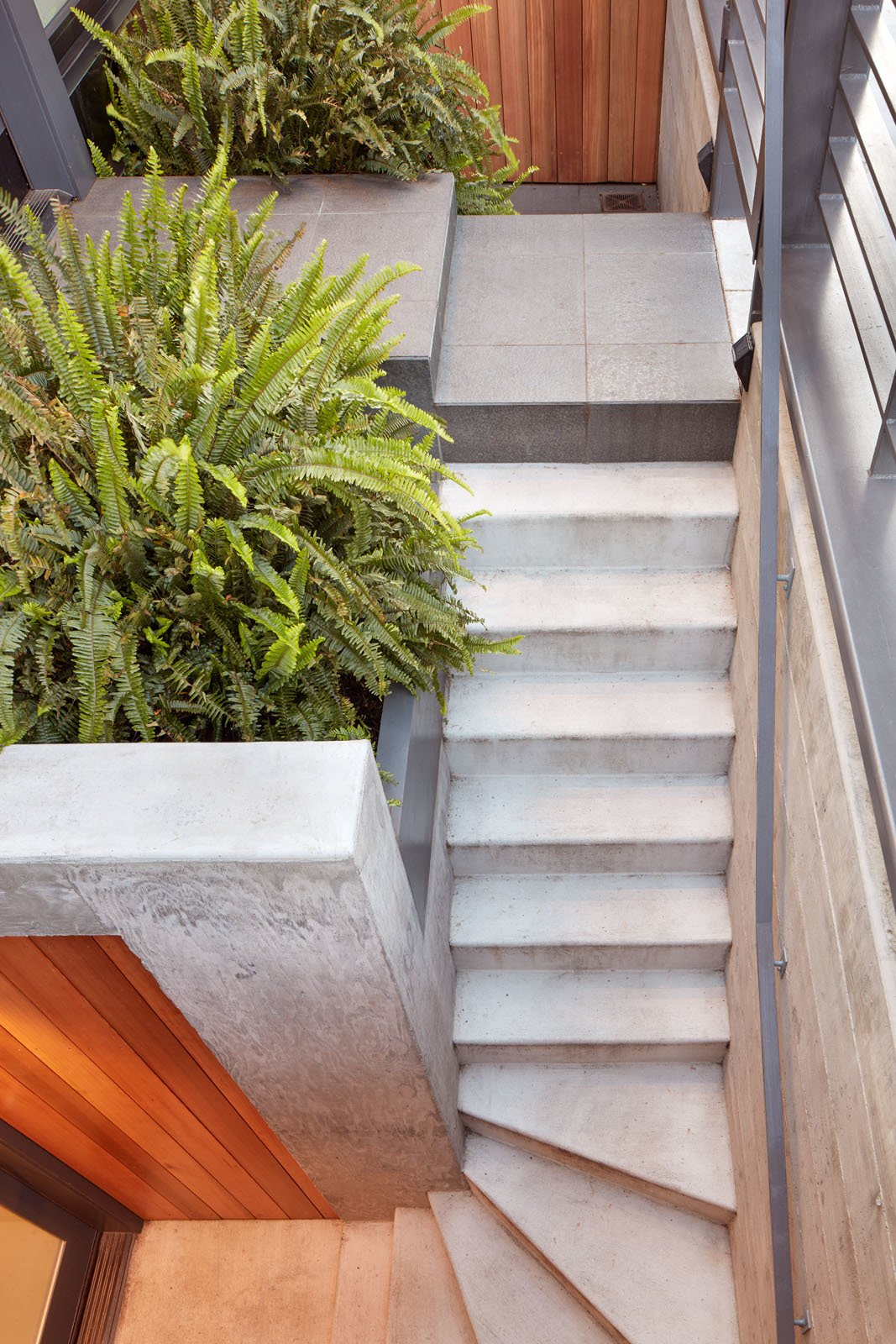 Outdoor, Concrete Patio, Porch, Deck, Raised Planters, Wood Fences, Wall, Small Patio, Porch, Deck, Front Yard, Stone Patio, Porch, Deck, Metal Fences, Wall, Hardscapes, Metal Patio, Porch, Deck, Horizontal Fences, Wall, Concrete Fences, Wall, Gardens, Pavers Patio, Porch, Deck, Vertical Fences, Wall, Walkways, Landscape Lighting, and Wood Patio, Porch, Deck Chenery - Stair Detail  Chenery by Cary Bernstein Architect