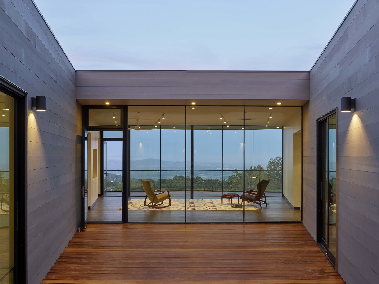 Exterior, Flat RoofLine, House Building Type, and Wood Siding Material Entry Court  Box on the Rock by Schwartz and Architecture