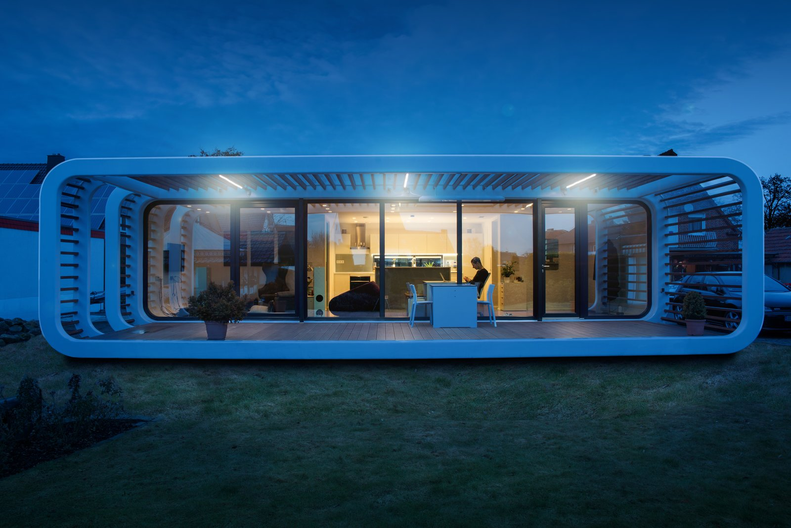 Exterior and Prefab Building Type A residential project in Bielefeld, Germany features an outdoor patio.  Photo 2 of 12 in Meet the Prefab Unit That's Smart, Mobile, and Sustainable