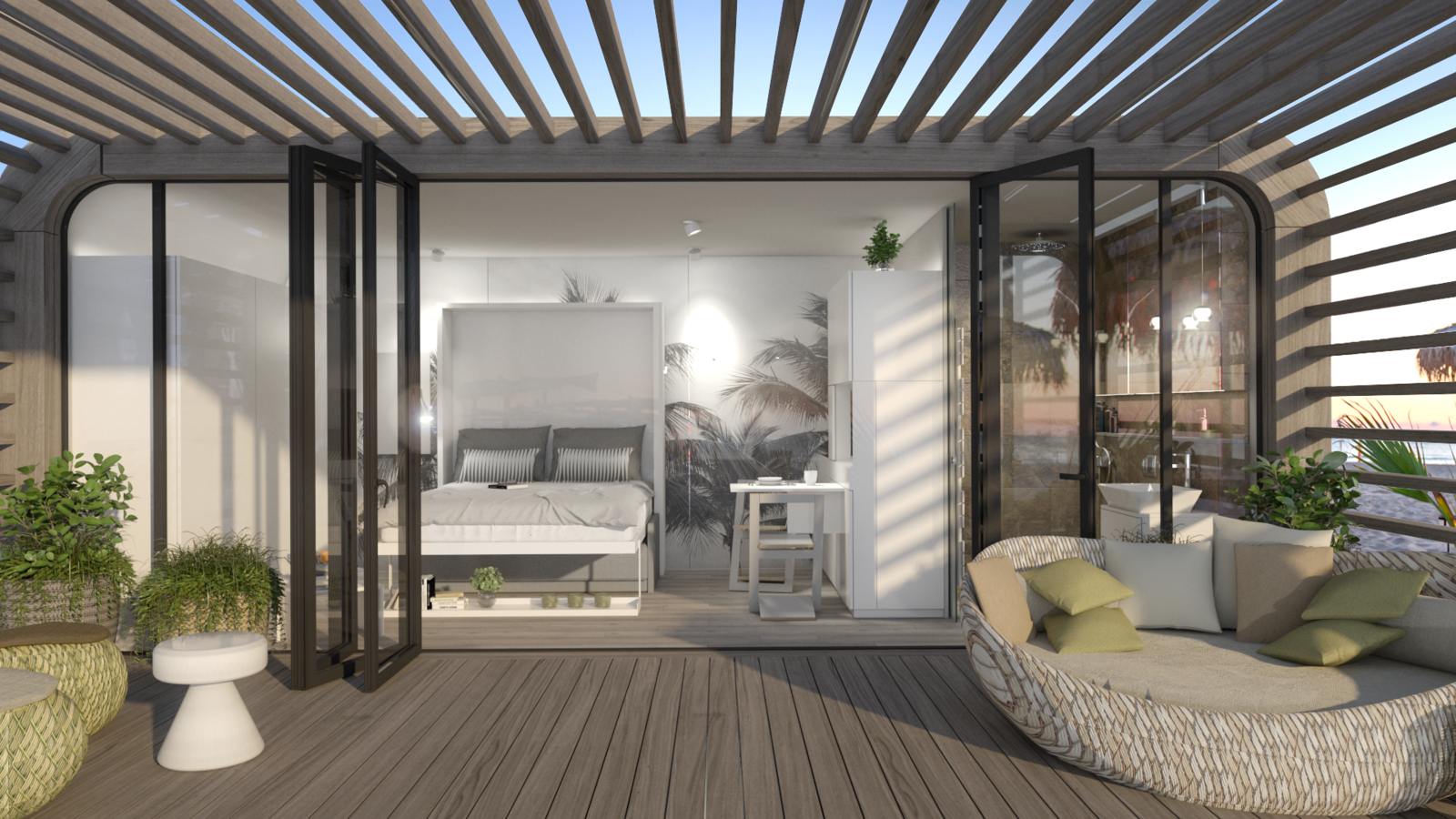 Outdoor, Decking Patio, Porch, Deck, and Planters Patio, Porch, Deck Coodo's come with an optional outdoor pergola featuring a patio made of recyclable deck planks.  Photo 8 of 12 in Meet the Prefab Unit That's Smart, Mobile, and Sustainable