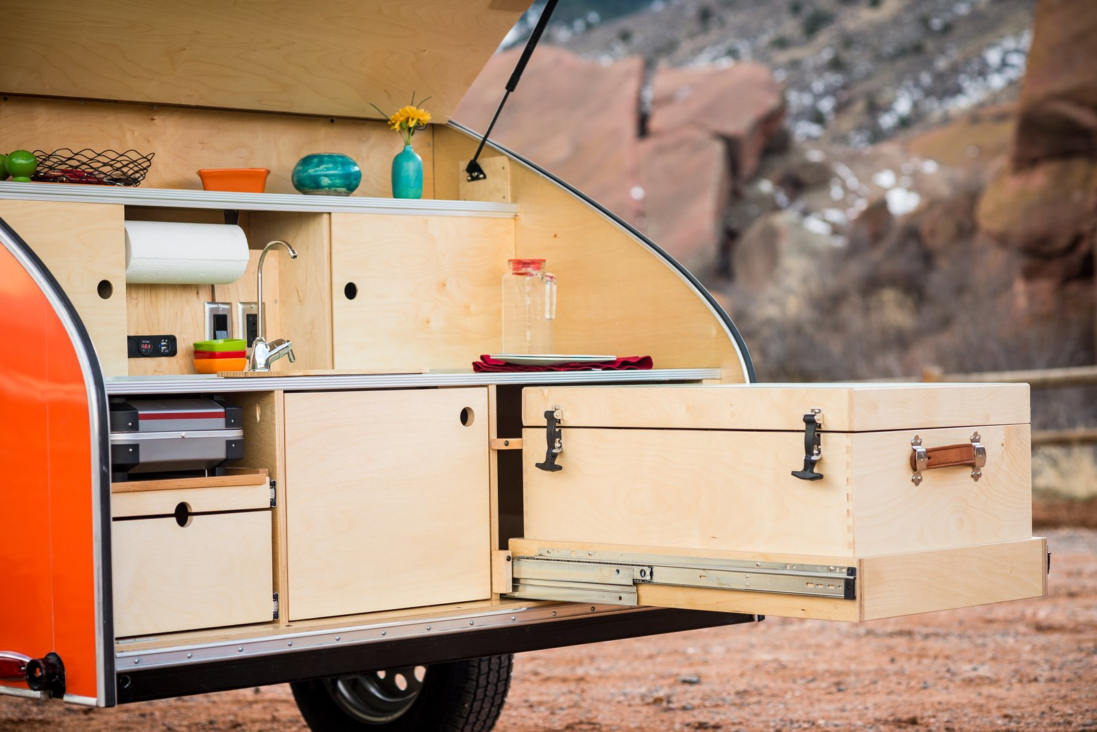 Kitchen, Drop In, Wood, Laminate, Wood, and Wood The birch cooler has details such as genuine leather handles and dovetail joinery.  Best Kitchen Wood Wood Drop In Photos from Timberleaf Trailers