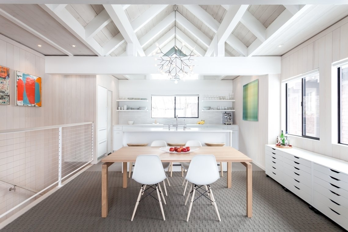 Bed, Wall Lighting, Carpet Floor, Dining Room, and Bench Dining  Photos from Pendant Lights