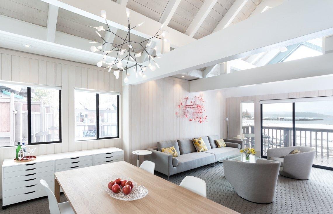 Bed, Table, Carpet Floor, Chair, Night Stands, White Cabinet, Ceramic Tile Backsplashe, Pendant Lighting, and Living Room Living  Best Photos