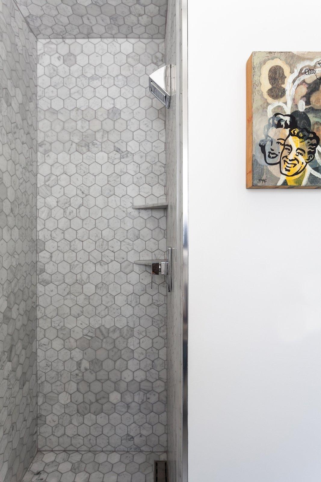 White, Stone Slab, Bath, Open, and Stone Tile Shower  Best Bath Stone Tile Open Photos from Jensen