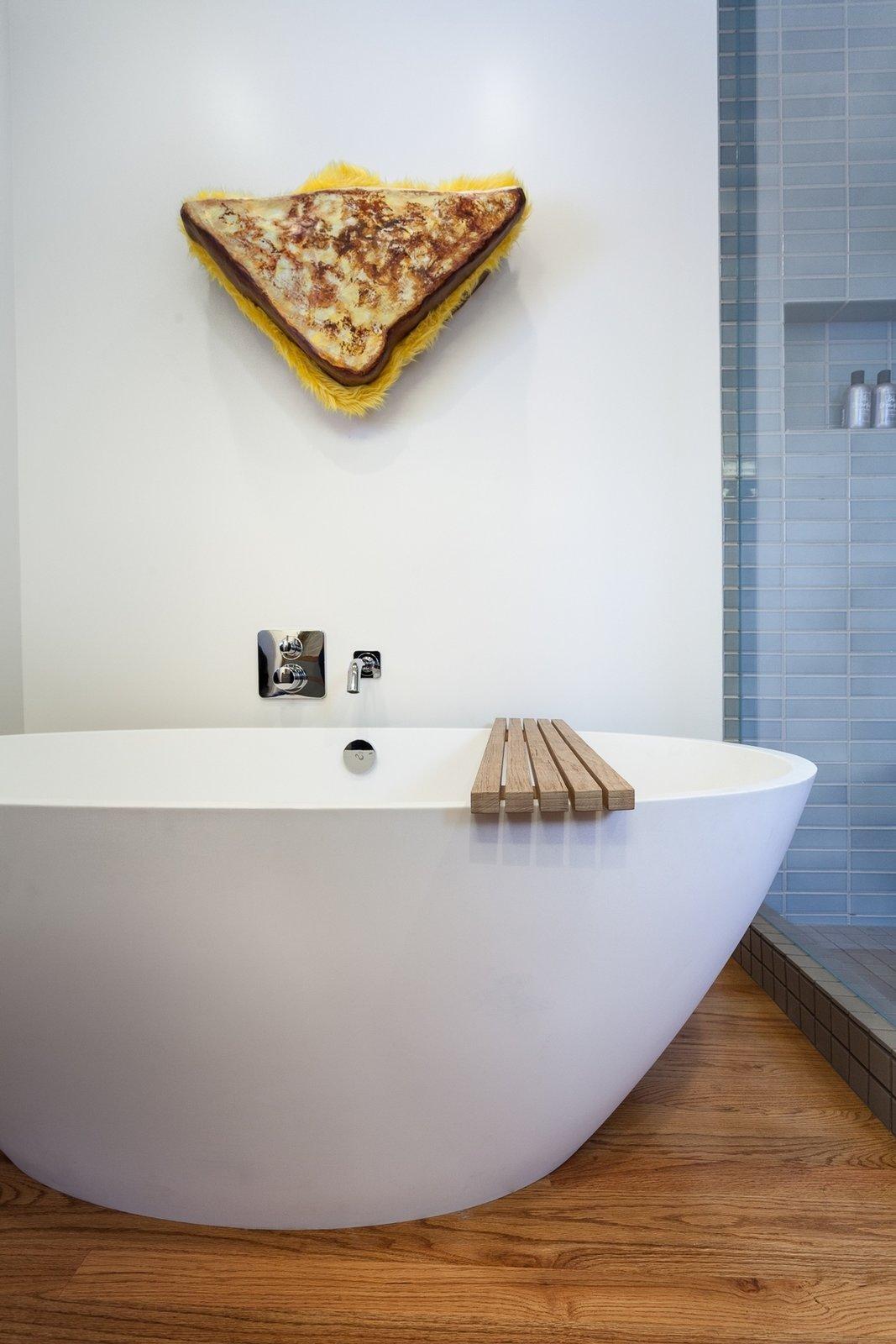 Wood Counter, Medium Hardwood Floor, Vessel Sink, Enclosed Shower, Ceiling Lighting, Recessed Lighting, Freestanding Tub, Corner Shower, One Piece Toilet, Wall Lighting, Ceramic Tile Wall, and Bath Room Master  South Land Park