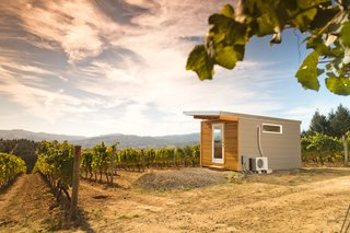 This beautiful Modern-Shed home office overlooks a gorgeous vineyard in Eastern Washington.