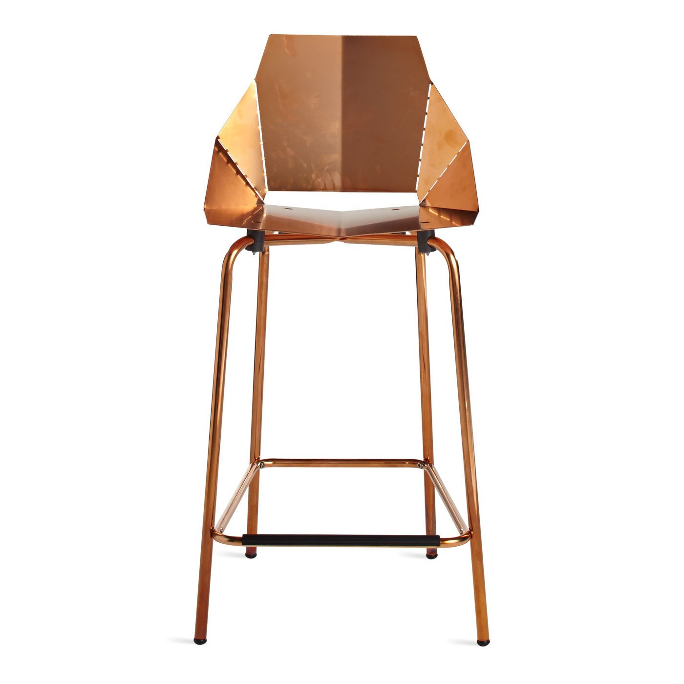 Copper Real Good Counter Stool A copper plated finish that is intended to patina naturally with handling and age for a unique look. The Copper Real Good Counter Stool ships flat and folds along laser-cut lines to create a dynamic and comfortable chair. As skinny as a supermodel yet far more sturdy.   Photo 5 of 10 in Guide to Understanding Laser, Plasma, and Water-Jet Cutting in Design from Blu Dot   Dining