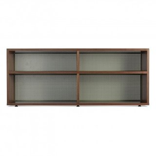 Intro Shelving - Double See through it all. A grey-green perforated back panel brings a hint of intrigue and levity to a pragmatic bookcase.