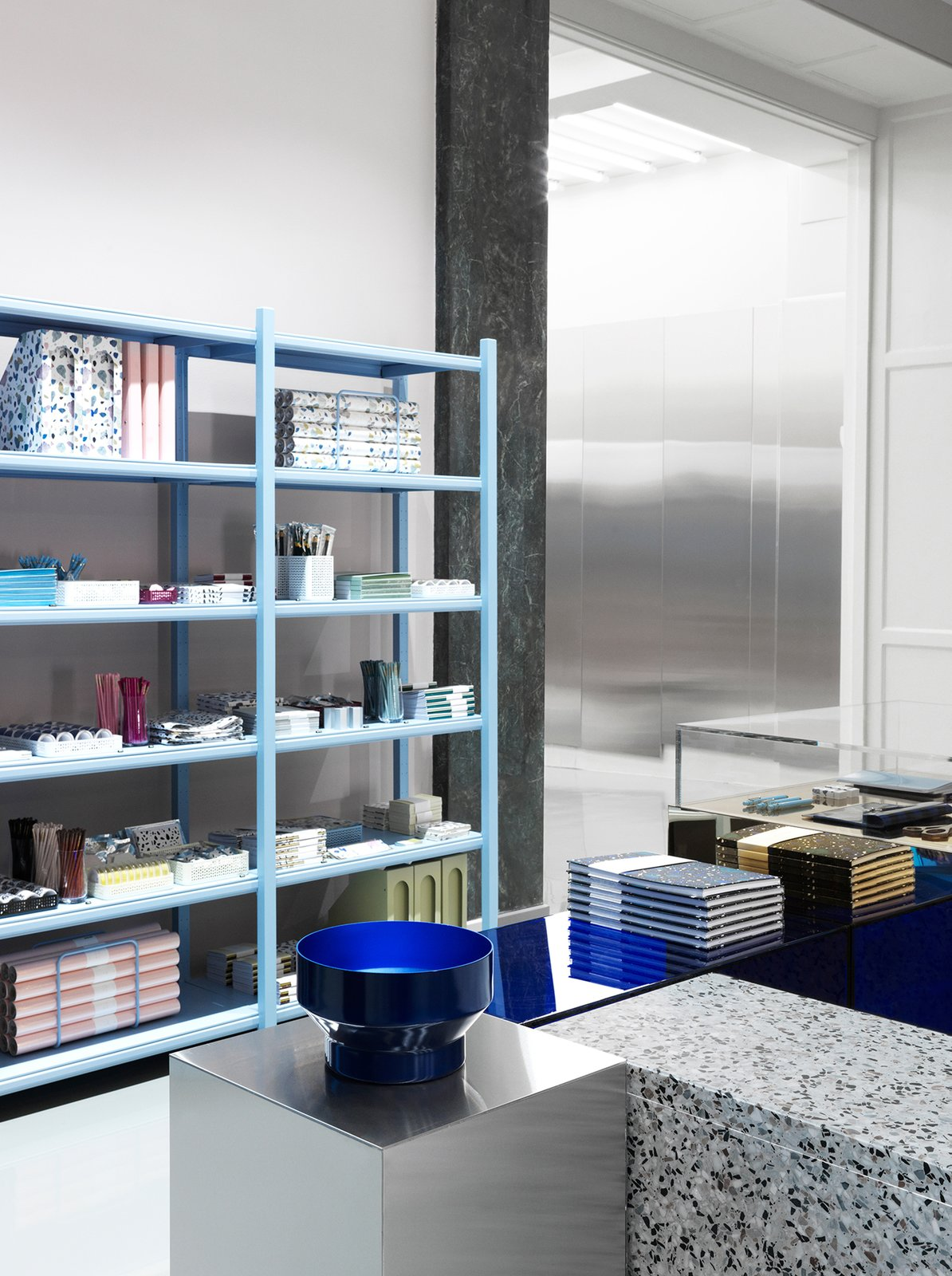 Storage Room and Shelves Storage Type The powder blue universe of Daily Fiction.  Photo 10 of 16 in Material Guide: Everything You Need to Know About Terrazzo from Normann Copenhagen's Revamped Showroom and Flagship Store