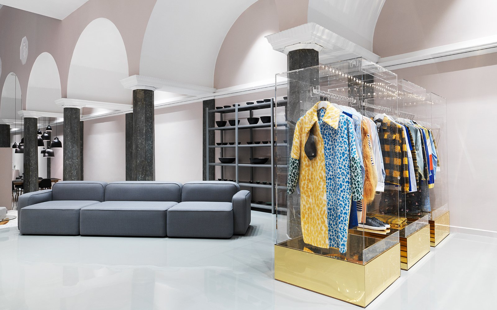 Selected fashion items next to the modular Rope sofa.  Photo 10 of 13 in Normann Copenhagen's Revamped Showroom and Flagship Store