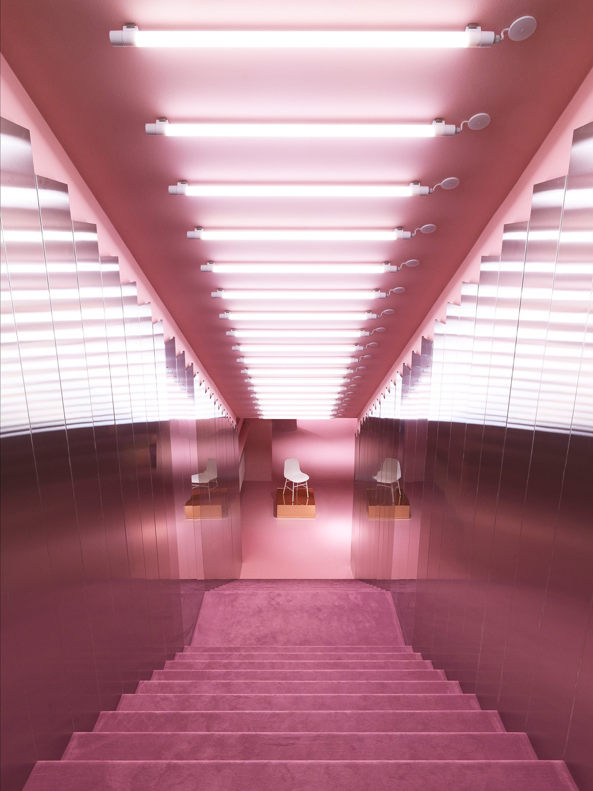 Plush pink staircase leading down into the Gallery.  Photo 11 of 13 in Normann Copenhagen's Revamped Showroom and Flagship Store