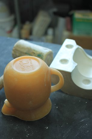 Using a wax cast to craft the custom molds.  Photo 9 of 36 in Sausalito Dinnerware Factory Tour