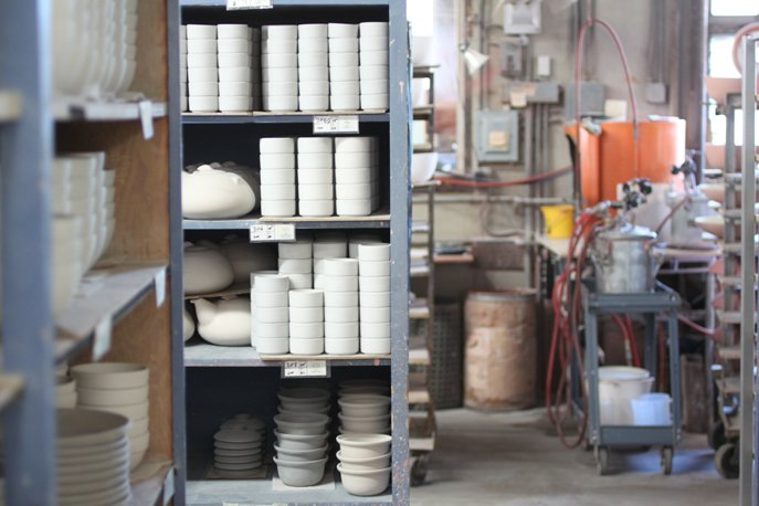 Ready to be glazed and fired, when needed.  Photo 22 of 36 in Sausalito Dinnerware Factory Tour