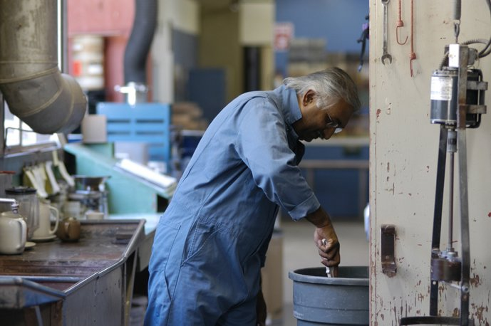 We make all of our glazes in house. We mix and test the ingredients in preparation for our glazers.  Photo 23 of 36 in Sausalito Dinnerware Factory Tour