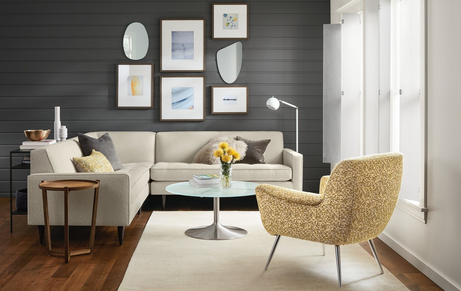 A small-scale sectional with sophisticated style, Reese adds refinement with details like button tufting, precise welting and tall, tapered legs.   Modern Living Room Furniture
