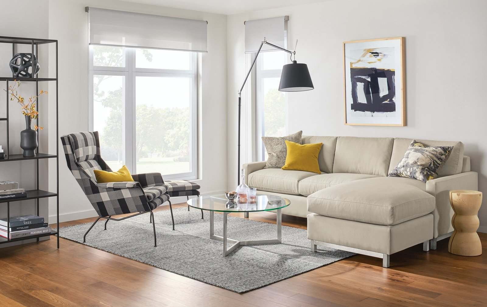 The Stevens sectional blends modern style with plush comfort. A taller seat height combined with soft, yet supportive, cushions delivers exceptional comfort with an upright feel.   Modern Living Room Furniture