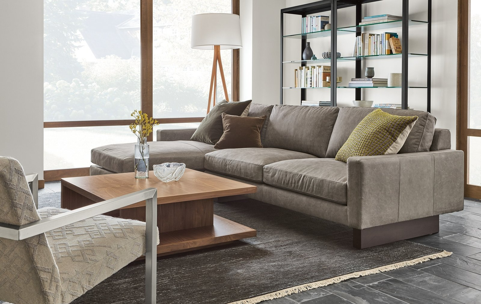 Designed to relax over time, the cushions of Hess will develop a more casual look while still maintaining their plush feel.   Modern Living Room Furniture