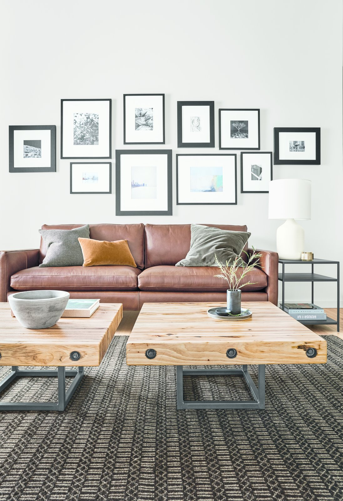 The small-scale Briggs tables are created from floor tiles of automotive stamping plants from across the Midwest, primarily made of domestic hickory.   Modern Living Room Furniture