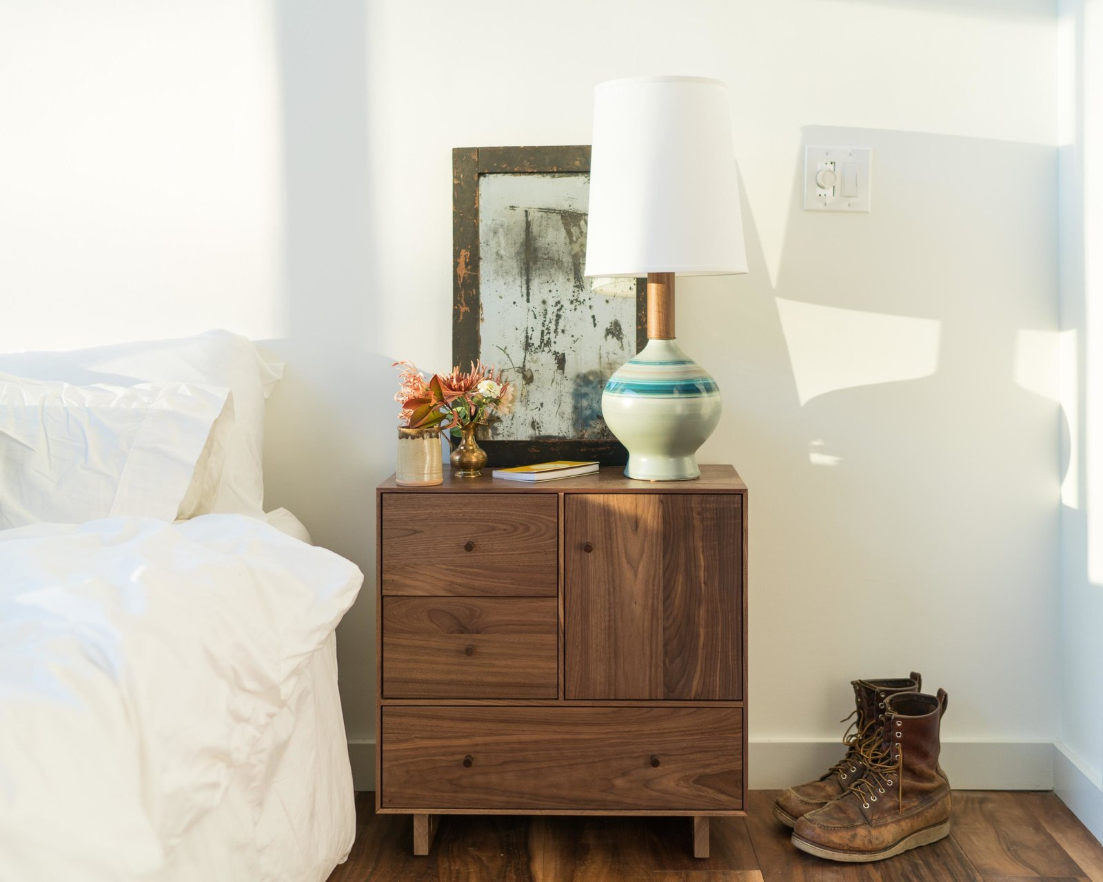 Bedroom, Bed, and Night Stands Hudson nightstand and Rayas table lamp  Photo 8 of 11 in Home Tour: Theron Humphrey of This Wild Idea