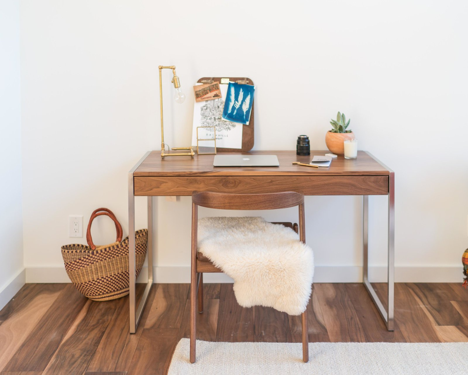 Office, Chair, and Desk Basis desk and Jansen chair  Photo 9 of 11 in Home Tour: Theron Humphrey of This Wild Idea