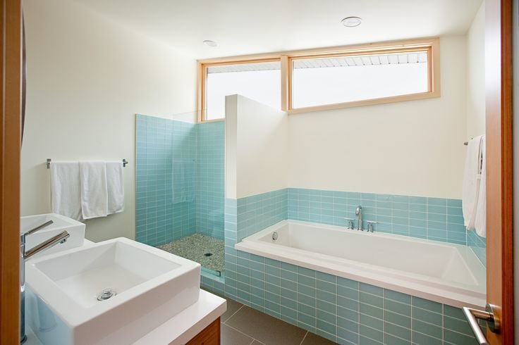Modwalls Lush 3x6 glass subway tile in Vapor pale blue.  Photo 9 of 21 in The Pantone Choice: Top 10 Colors for Spring 2017 from Bathroom Tile by Modwalls