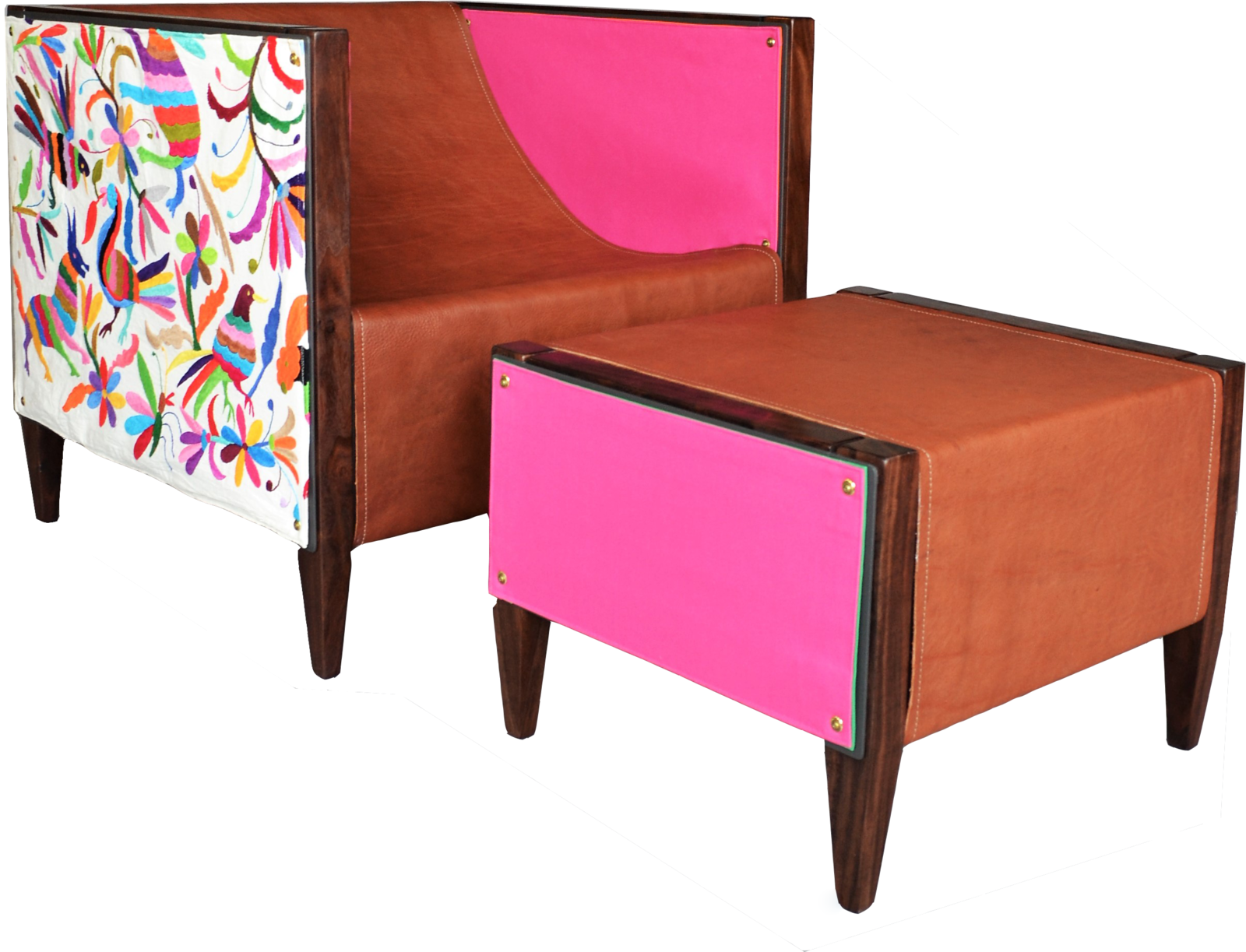The Camp Club Chair and Ottoman by Rob Zinn is available in a Special Edition hand-embroidered Otomi fabric and vegetable-tanned leathers. Aluminum and wood frame can even be made for outdoor use.  www.blankblank.net  blankblank Collection