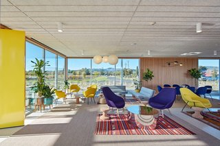 The interior of the tasting room is outfitted with Eero Saarinen-designed chairs, North African rugs, Douglas fir siding, and a terrazzo floor.