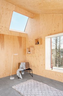 The interior walls of the living room, crafted from unfinished pine plywood, contrast with the cool gray of the concrete floors.